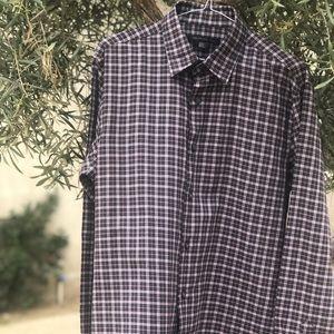 NW John Varvatos Plaid Dress Shirt, Size M